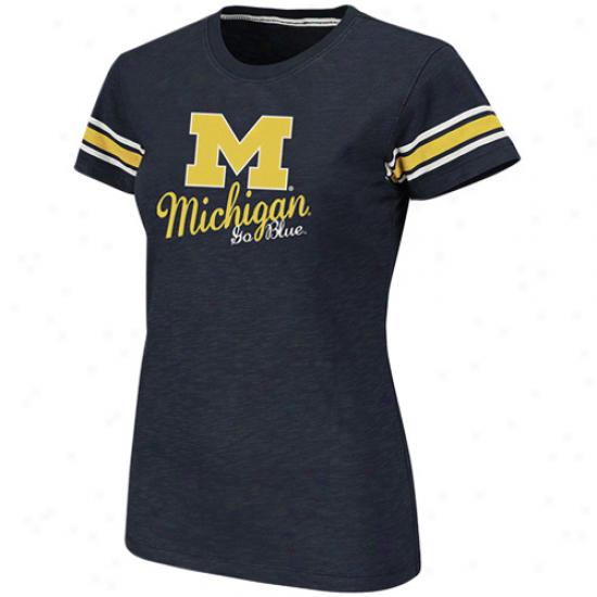 Michigan Wolverines Women's Backspin Company Slub T-shirt - Navy Blue