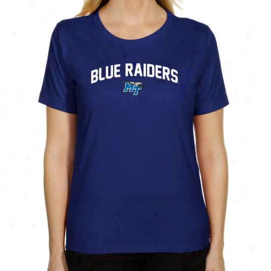 Middle Tennessee State Azure Raiders Ladies Mascot Logo Classic Fit T-shirt - Magnificent Blue