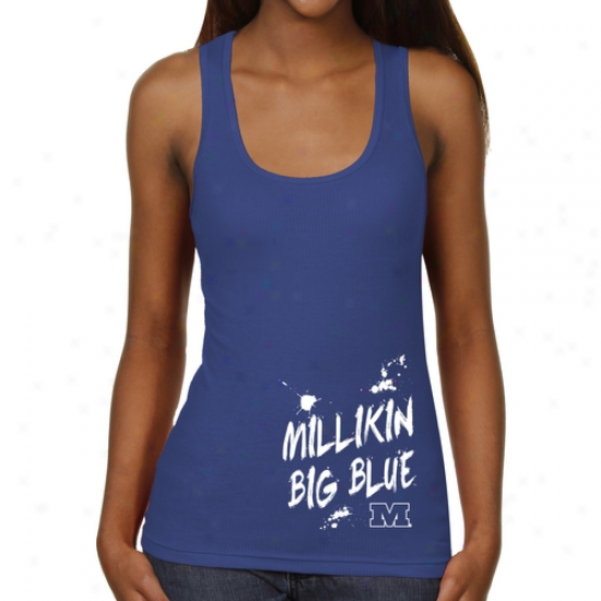 Millikin Big Blue Ladies Paint Strokes Junior's Ribbed Tank Top - Royal Blue