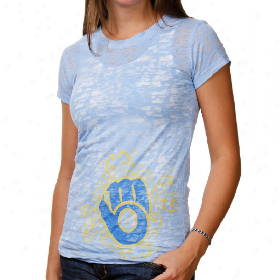 Milwaukee Brewers Laeies Scroll Burnout Premium Crew T-shirt - Light Blue