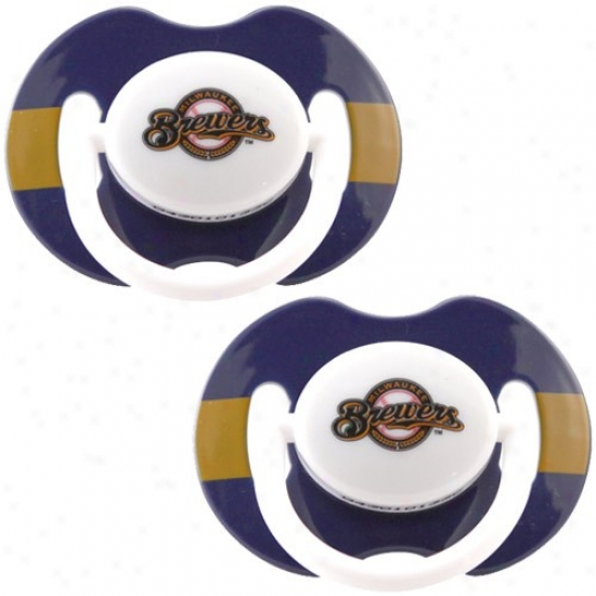 Milwaukde Brewers  Navy Blue-gold Striped 2-pack Team Logo Pacifiers