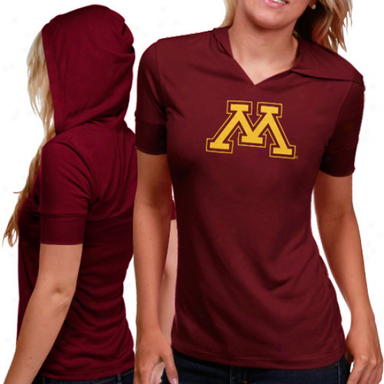 Minnesota Golden Gophers Ladies Maroon Crush Premium Hooded T-shirt
