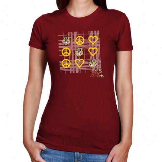 Minnesota Golden Gophers Ladies Scarlet Tic-tac-te T-shirt
