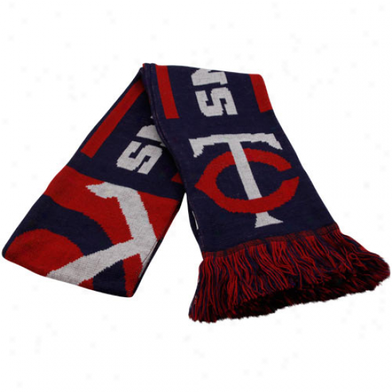 Minnesota Twins Navy Blue Team Fimbriate Knit Scarf
