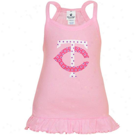 Minnesota Twins Toddler Girls Pink Ruffle Logo Tunic Tank Top