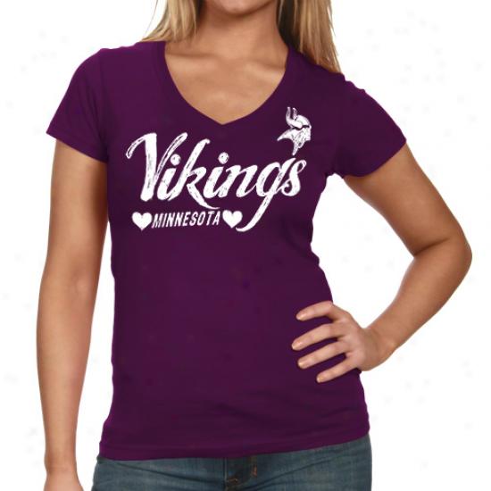 Minnesota Vikings Heart Script Baby Jersey T-shirt - Purple