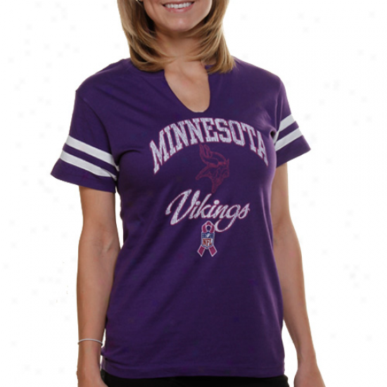 Minnesota Vikings Ladies #2 Center Leaague Split Neck T-shirt - Purple