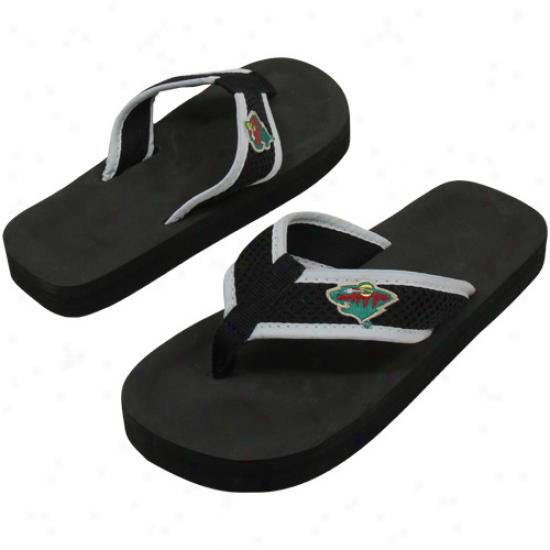 Minnesota Wild Unisex Basic Flip Flops - Black