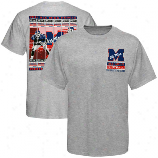 Mississippi Rebels 2011 Footbqll Schedule Tickets T-shirt - Ash