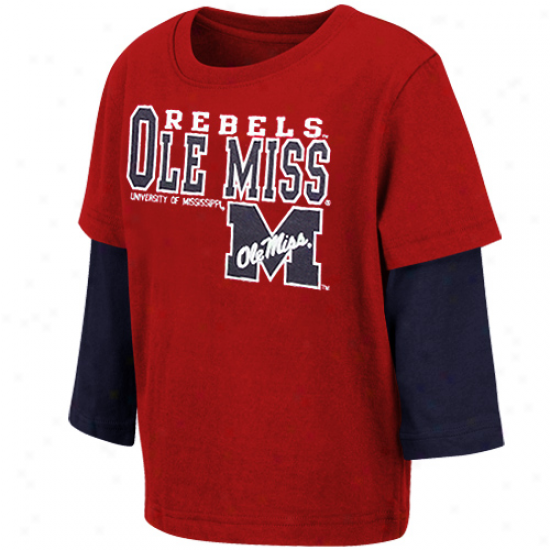 Mississippi Rebels Toddler Primo Double Layer T-shirt - Cardinal Red-navy Blue
