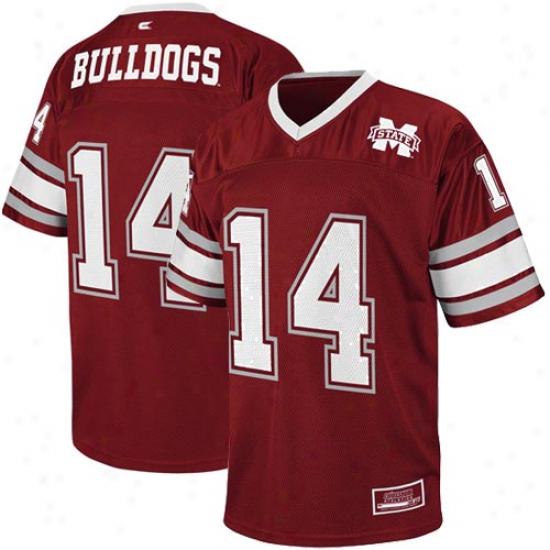 Mississippi State Bulldogs #114 Stadium Replica Football Jersey - Maroon