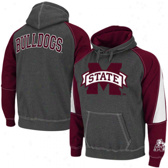 Mississippi tSate Bulldogs Charcoal-mar0on Playmaker Ii Pullover Hoodie Sweatshirt