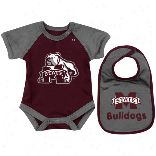 Mississippi National Bulldogs Infant Derby Crewper & Bib Set - Maroon/gray
