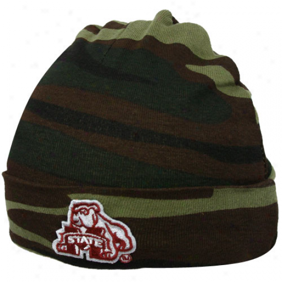 Misssissippi State Bulldogs Infant Green Camo Knit Beanie