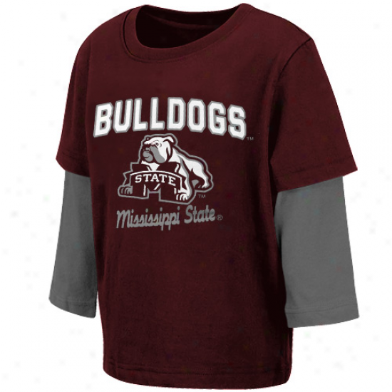 Mississippi State Bulldogs Infant Packer Deceitful Layer T-shirt - Maroon-gra