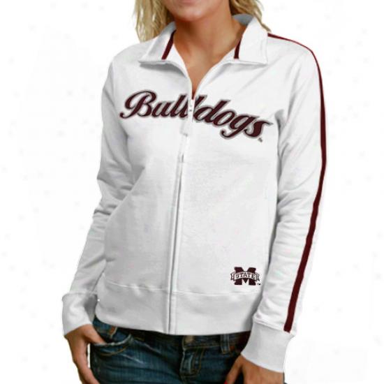 MississippiS tate Bulldogs Ladies White Curve Full Zip Jacket