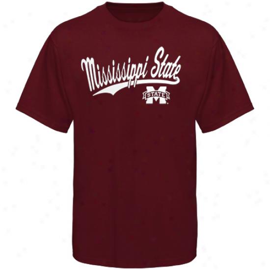 Missiswippi State Bulldogs Script United T-shirt - Maroon