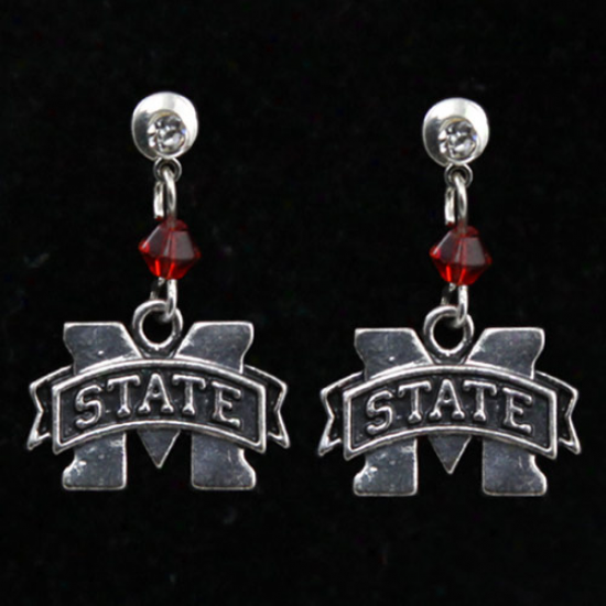 Mississippi State Bulldogs Silvertone Crystal Logo Earrings