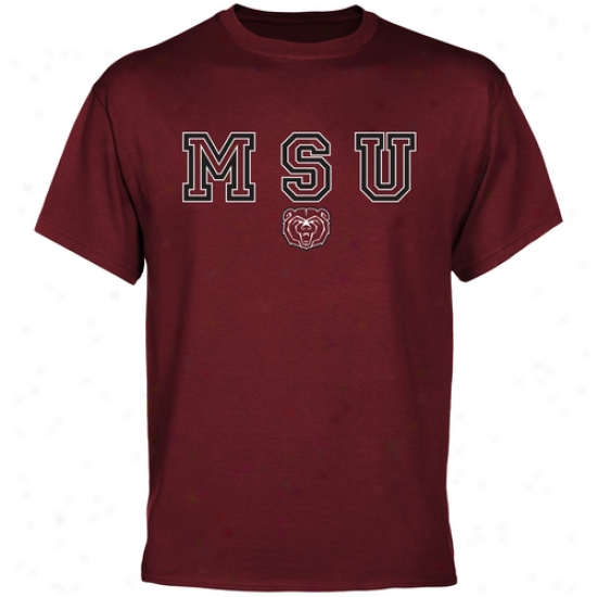 Missouri State University Bears Wordmark Logo T-shirt - Maroon
