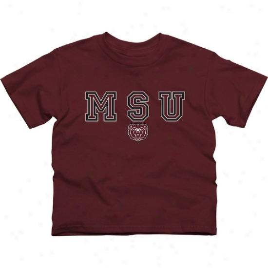 Missouri State University Bears Youth Wordmark Logo T-shirt - Maroon