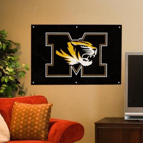 Missouri Tigers 2 ' X 3' Black Applique Logo Blow  Banner