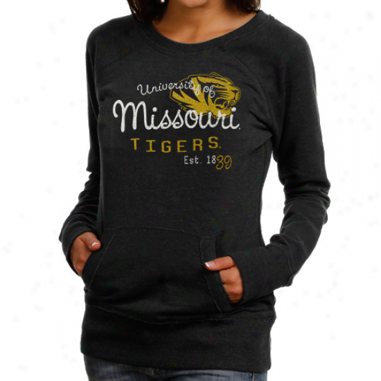 Missouri Tigers Ladies Black Scoop Neck Fleece Sweatshirt