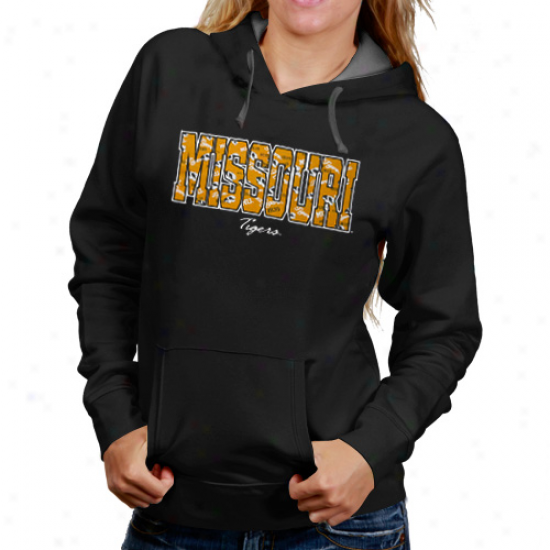 Missouri Tigers Ladies Black Vanity Con5rast Hoodie Sweatshirt