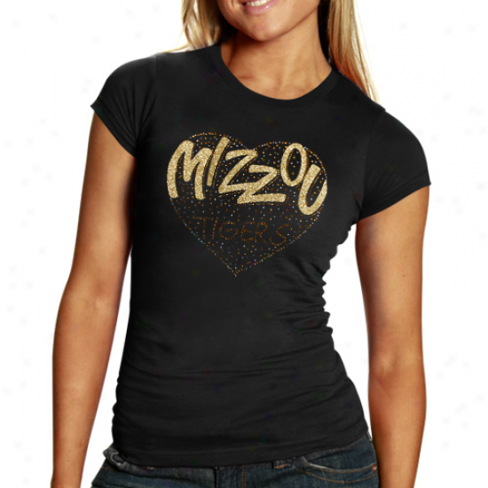 Missouri Tigers Ladies Glitter Heart T-shirt - Black