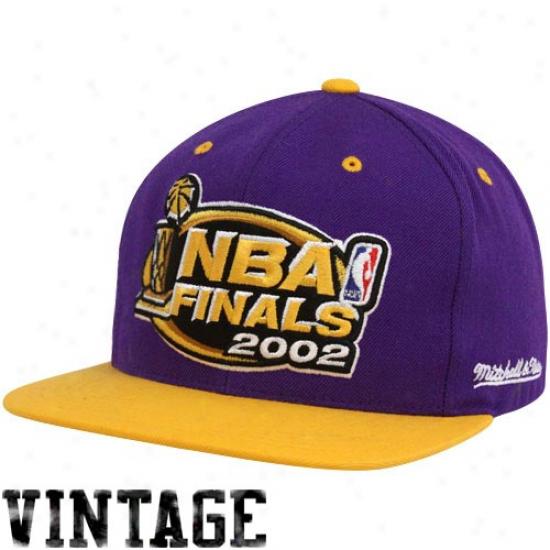 Mitchell & Ness 2002 Nba Finals Purple-gold Snapback Adjustable Hat