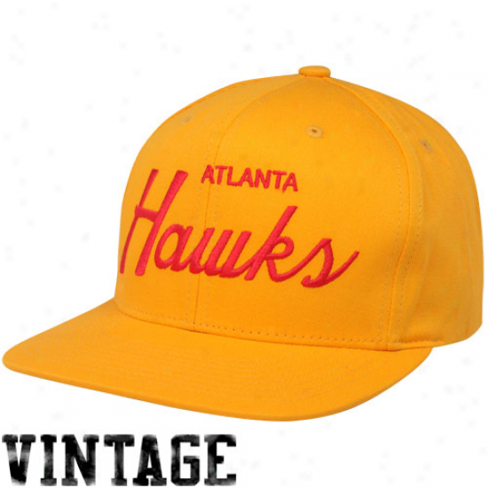 Mitchell & Nrss Atlanta Hawks Gold Solid Script Snapback Adjusttable Hat