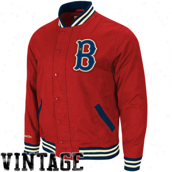 Mitchell & Ness Boston Red Sox Red Vintage Full Bjtton Twill Jacket