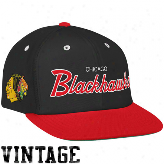 Mitchell & Ness Chicago Blackhawks Black-red Special Script Snapback Adjustable Hat