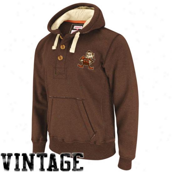 Mitchell & Ness Cleveland Browns Brown Plag Manufacturer Pullover Hoodiee Sweatshirt