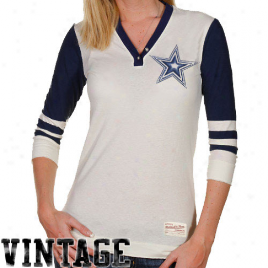 Mitchell & Ness Dallas Cowboys Ladies Shutout Premium Henley T-shirt - Natural-navy Blue