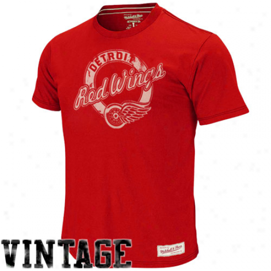 Mitchell & Ness Detroit Red Wings Circle Team Game Vintage T-shirt - Scarlet