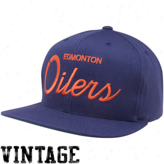 Mitchell & Ness Edmonton Oilers Navy Blue Script Snapback Adjustable Hat
