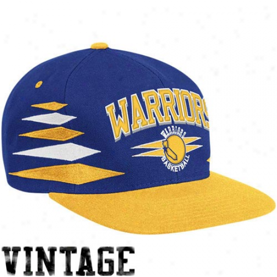 Mitchell & Ness Golden State Warriors Royal Blue-gold Retro Diamond Snapback Adjustable Hat