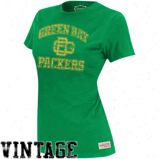 Mitchell & Ness Green Bay Packers Ladiees Vintage Graphic Premium T-shirt - Green