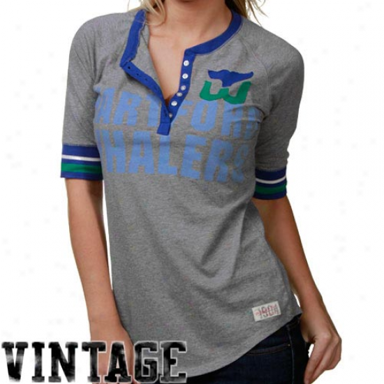 Mitchell & Ness Hartford Whalers Ash Neutral Zone Henley Premium Long Sleeve T-shirt