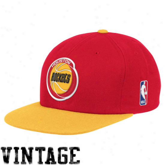Mitchell & Ness Houstoon Rockets Red-gold Two-tone Vintage Snspback Adjustable Hat
