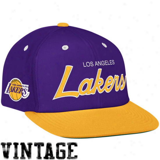 Mitchell & Ness Los Angeles Lakers Purple-gold Special Script Snapback Adjuatable Hat