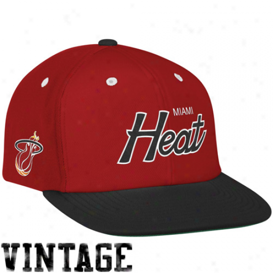 Mitchell & Ness Miami Heat Red-black Special Script Snapback Adjustable Hat