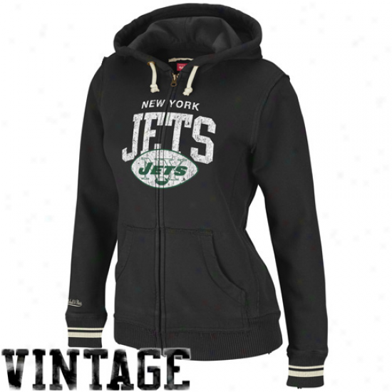 Mitchell & Ness New York Jets Ladies Black Arch Rivals Full Zip Hoodie Sweatshirt