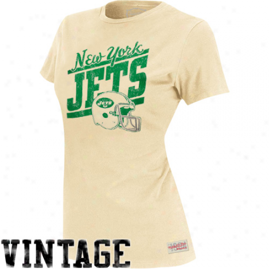 Mitchell & Ness New York Jets Ladies Vintage Graphic Annual rate  T-shirt - Natural