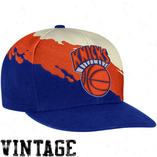Mitchell & Ness New York Knicks Paintbrush Snapback Hat - Royal Blue