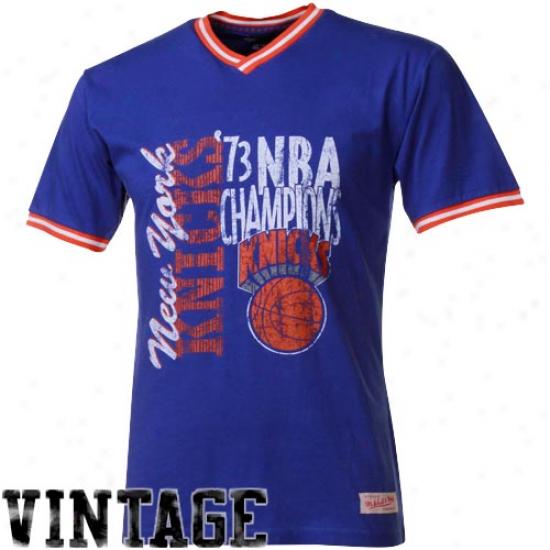 Mitchell & Ness Nee York Knicks Royal Blue Double Drip Premium T-shirt