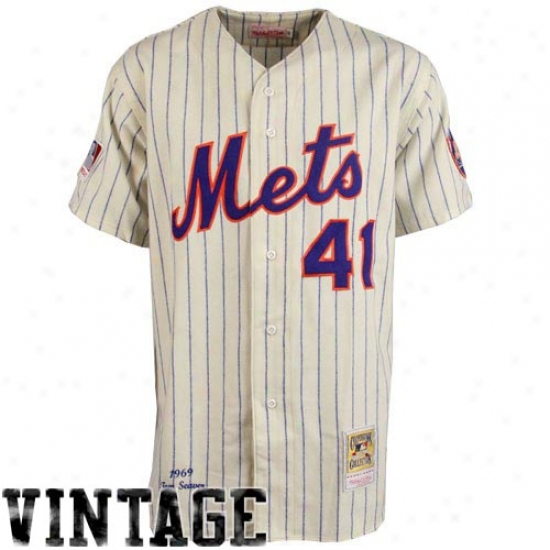 Mitchell & Ness New York Mets #41 Tom Seaver White Pinstripe Throwback Jersey