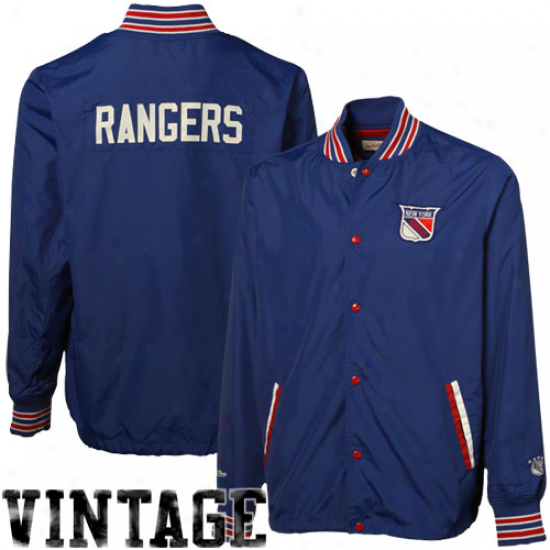 Mitchell & Ness New York Rangers Royal Livid Pep Talk Full Button Jacket