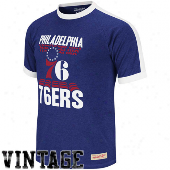 Mitchell & Ness Philadelphia 76era Backscreen Permium T-shirt - Royal Blue