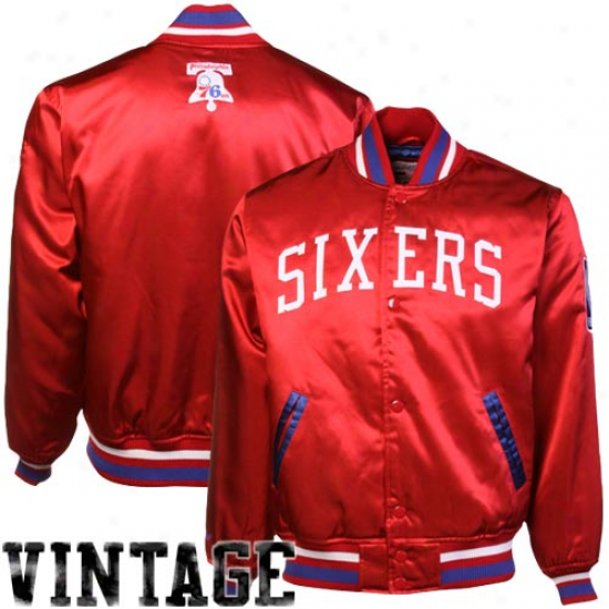 Mitcehll & Ness Philadelphia 76ers Red Satin Full Button Jerkin